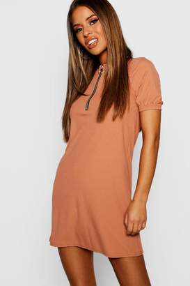 boohoo Petite Ribbed Zip Front T-Shirt Dress