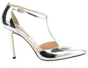 Sarah Jessica Parker Taylor Metallic Leather T-Strap Pumps