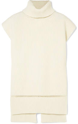 Alexander McQueen Pointelle-trimmed Ribbed Wool And Cashmere-blend Turtleneck Sweater - Ivory