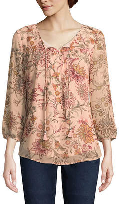 ST. JOHN'S BAY Long Sleeve Tie Front Blouse - Tall