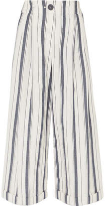 REJINA PYO - Dylan Cropped Striped Wide-leg Cotton-chambray Pants - Blue