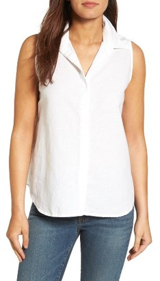 Women's Nydj Button Back Linen Blend Shirt $88 thestylecure.com
