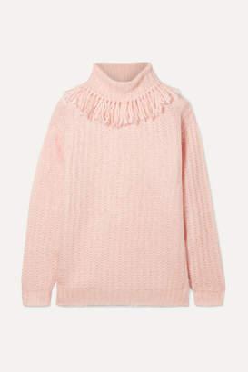 Miu Miu Tasseled Mohair-blend Turtleneck Sweater - Pink