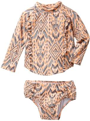 Jessica Simpson Print Raglan Top & Bottom Swimsuit Set (Baby Girls)