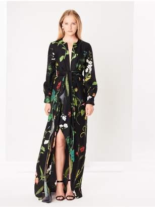 Oscar de la Renta Draped Botanical Silk-Twill Gown