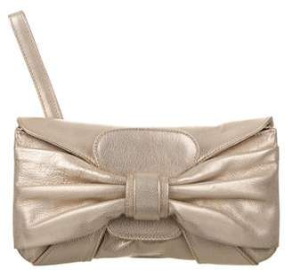 Valentino Bow-Embellished Metallic Leather Clutch