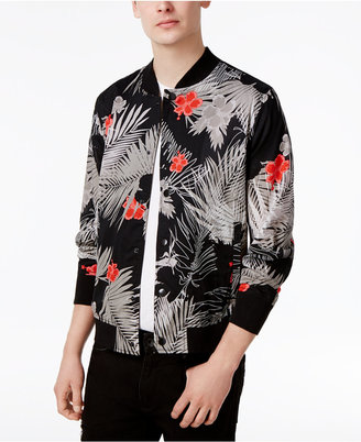 Guess Men's Venice Palm Cotton Bomber Jacket $128 thestylecure.com