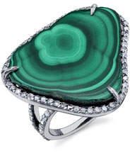Sheryl Lowe Malachite Slice Ring with Diamonds, Size 8