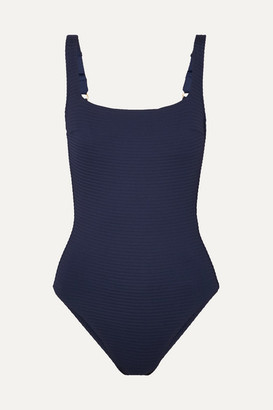 Heidi Klein Carlisle Bay Lace-up Ribbed Swimsuit - Navy