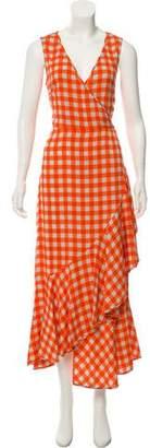 Diane von Furstenberg Gingham Print Maxi Dress