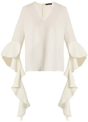 Ellery Ace V Neck Deconstructed Sleeved Crepe Top - Womens - White