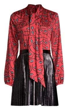 Delfi Collective Abby Eye Print Pleated A-Line Skirt Dress