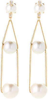 Vince Camuto Gold-Tone Linear Chain Faux Pearl Earrings