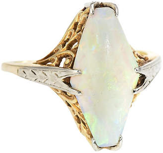 One Kings Lane Vintage Art Deco Opal Cocktail Filigree Ring - Precious & Rare Pieces