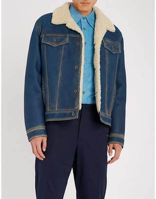 Prada Denim-effect shearling jacket