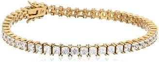 Swarovski Platinum Plated Sterling Silver Tennis Bracelet set with Princess Cut Zirconia