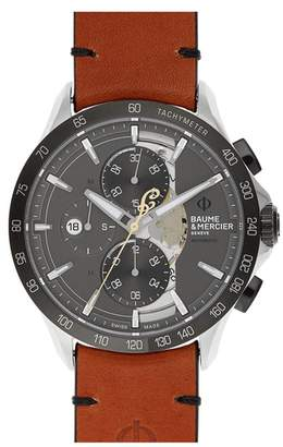Baume & Mercier BAUME AND MERCIER Clifton Limited Edition Leather Strap Watch, 44mm