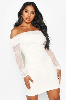boohoo Dobby Off Shoulder Long Sleeve Mini Dress