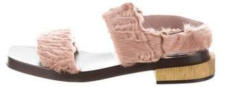 Gucci Shearling Ankle-Strap Sandals