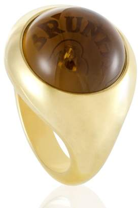 Gar-De Pasquale Bruni Avant Garde 18K Yellow Gold Diamond and Smoky Quartz Ring Size 7.0