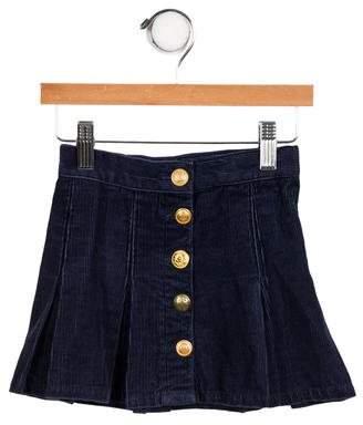 Ralph Lauren Girls' Pleated Button-Up Skirt