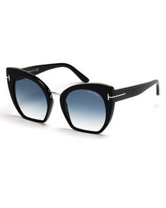 Tom Ford Samantha Cropped Cat-Eye Sunglasses, Turquoise/Black