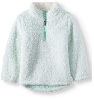 Wonder Nation Mock Neck Quarter Zip Boucle Lined Sherpa Jacket (Toddler Girls)
