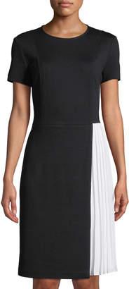 St. John Colorblocked Georgette-Trimmed Short-Sleeve Dress