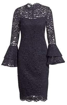 Teri Jon by Rickie Freeman Tiered Bell-Sleeve Lace Sheath Dress