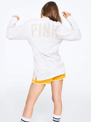 PINK Rhinestone Bling Campus Long Sleeve Tee