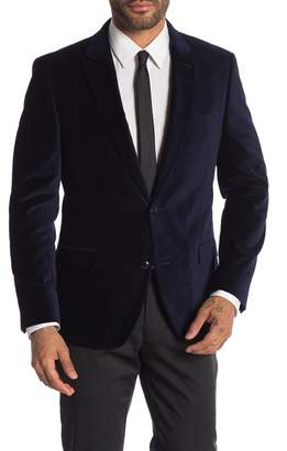 Tommy Hilfiger Blue Velvet Two Button Notch Lapel Slim Fit Blazer