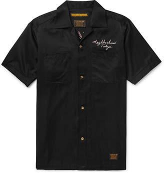 Neighborhood Camp-Collar Embroidered Satin Shirt