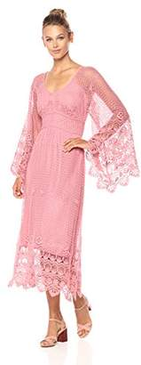 Ella Moon Women's Elsie Bell Sleeve Crochet Lace Maxi Dress