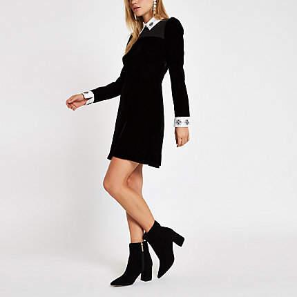 Buy Womens Black velvet embellished collar mini dress!