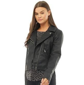 Only Womens Vigga Faux Leather Biker Jacket Black