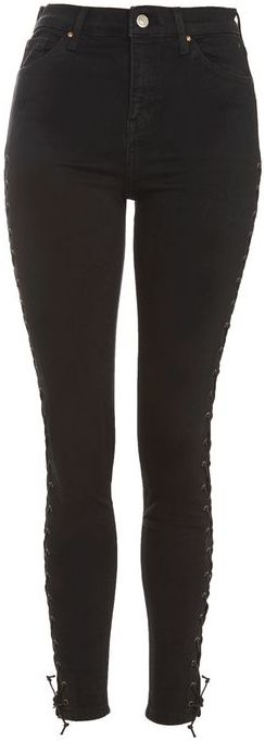TopshopTopshop Moto black lace up jamie jeans