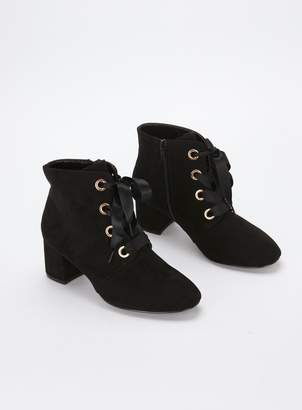 d6065946356 Evans EXTRA WIDE FIT Black Satin Lace Boots