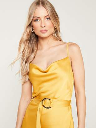 f5e92f36d95d3 River Island Cowl Neck Belted Slip Dress- Yellow