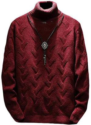 XiaoTianXin-men clothes XTX Mens Long Sleeve Cable Knitwear Sweater Turtleneck Pullover M