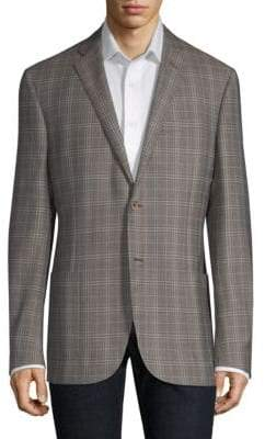 Corneliani Washed Plaid Wool Jacket