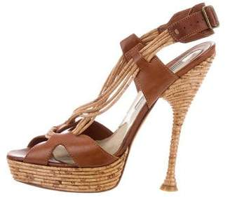 Brian Atwood Leather Platform Sandals