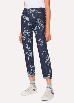 Paul Smith Women's Indigo 'Acapulco' Print Girlfriend-Fit Denim Jeans