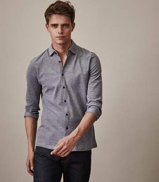 Reiss ORDER BY MIDNIGHT DEC 15TH FOR CHRISTMAS DELIVERY CRAIG LONG SLEEVED BUTTON THROUGH SHIRT Grey