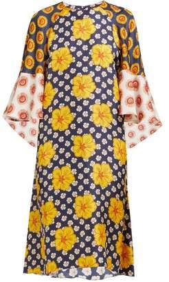 Biyan Athea Hibiscus Print Silk Dress - Womens - Yellow Multi