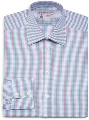 Turnbull & Asser Striped-Check Regular Fit Dress Shirt