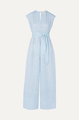 Mara Hoffman Net Sustain Whitney Striped Hemp Jumpsuit - Sky blue