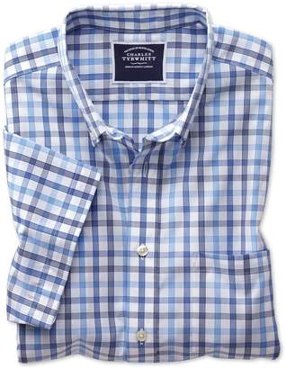 Charles Tyrwhitt Classic Fit Non-Iron Blue Large Check Short Sleeve Cotton Casual Shirt Single Cuff Size Small