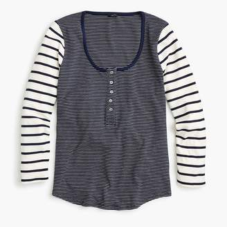 J.Crew Scoopneck henley shirt in mixed stripe