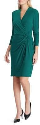 Chaps Twist-Front Jersey Slim-Fit Wrap Dress