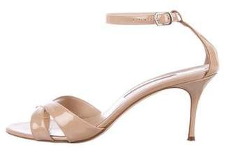Manolo Blahnik Patent Leather Round-Toe Sandals